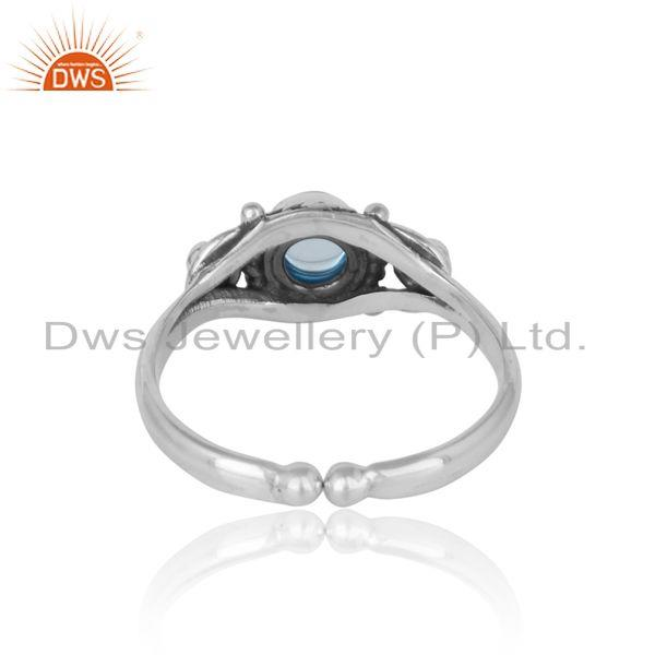 Exporter of Handcrafted twisted textured blue topaz ring in oxidized silver