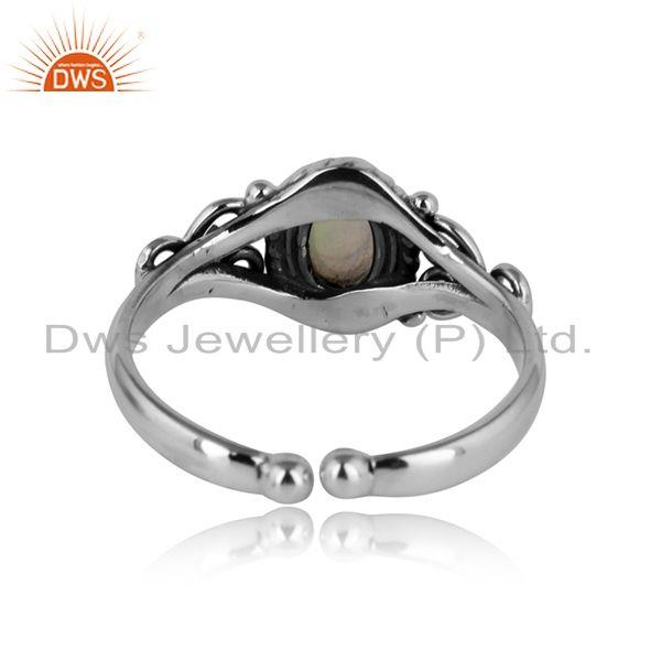 Exporter of Handcrafted designer dainty ethiopian opal ring in oxidized silver