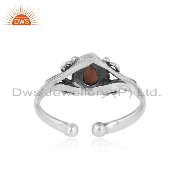 Exporter of Designer handmade dainty pink opal ring in oxidized silver 925