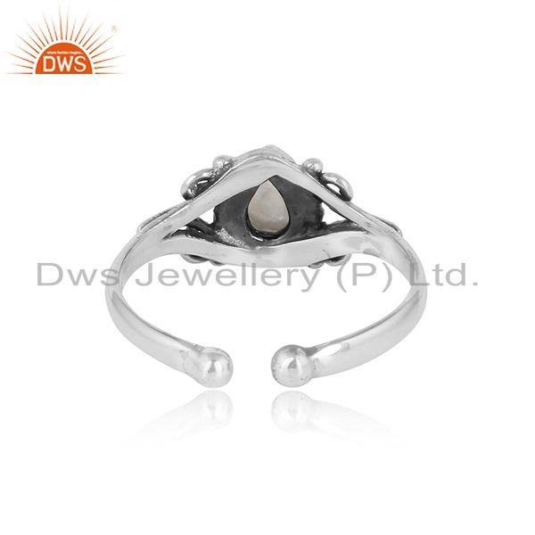 Exporter of Designer handmade rainbow moonstone ring in oxidized silver 925