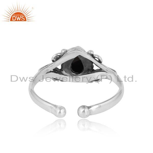 Exporter of Designer handmade dainty ring in oxidized silver with black onyx
