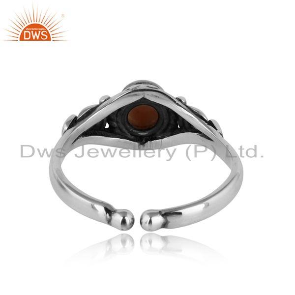 Exporter of Handcrafted designer dainty pink opal ring in oxidized silver 925