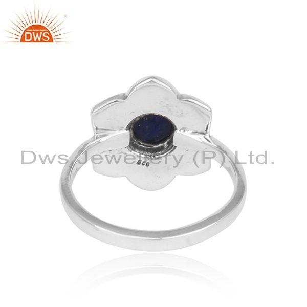 Exporter of Handcrafted classic ring in oxidised silver 925 with natural lapis