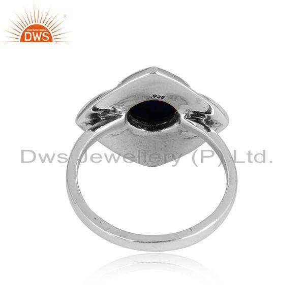 Exporter of Handmade classic designer ring in oxidised silver 925 with lapis