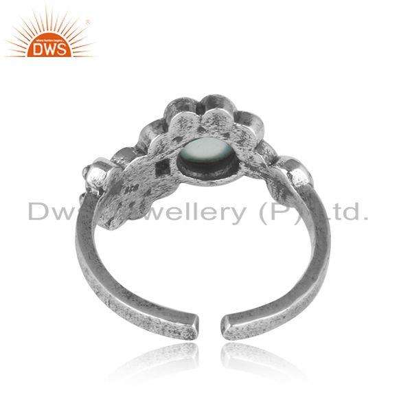 Exporter of Designer dainty oxidized silver granule ring with aqua chalcedony