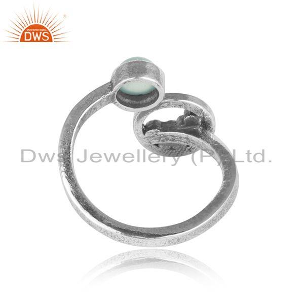 Exporter of Handcrafted silver granule bypass aqua chalcedony oxidized ring