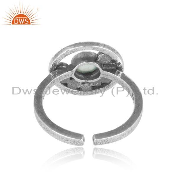 Exporter of Handcrafted designer aqua chalcedony ring in oxidized silver 925
