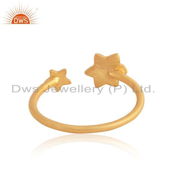 Exporter of Textured multi star designer ring in yellow gold on silver 925