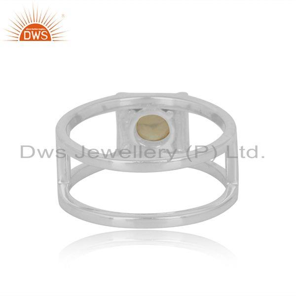 Exporter of Designer double shank sterling silver ring with ethiopianopal
