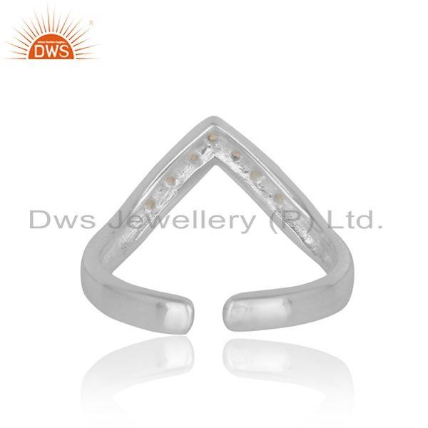 Exporter of Designer exquisite sterling silver ring studded with white topaz