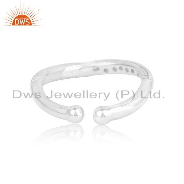 Exporter of Textured handmade stackable silver 925 ring with white topaz