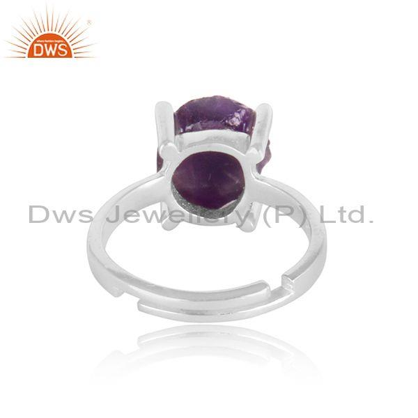 White topaz and amethyst set fine 925 sterling silver ring