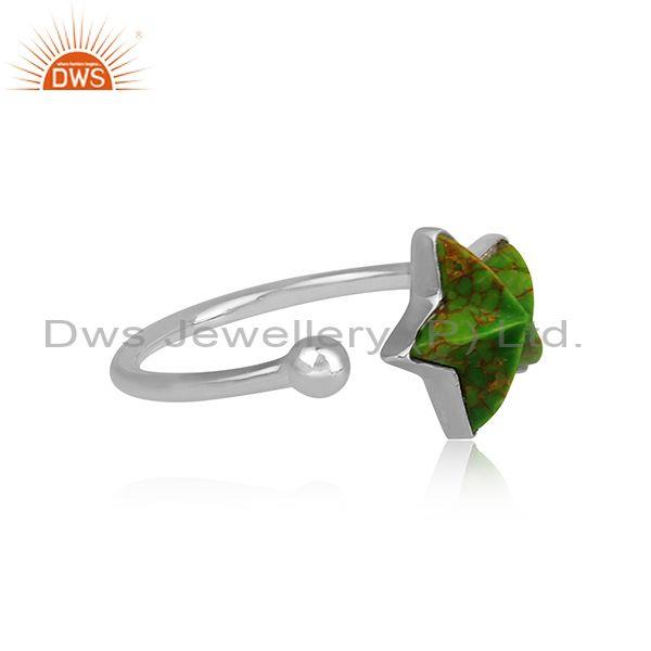 Synthatic green copper set star shaped fine 925 silver ring