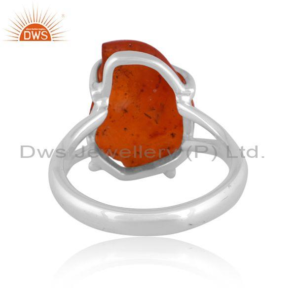 Rough cut carnelian set fine 925 silver handhammered ring