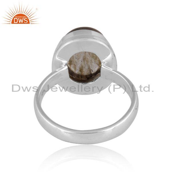Doublet gray mop crystal set fine 925 sterling silver ring