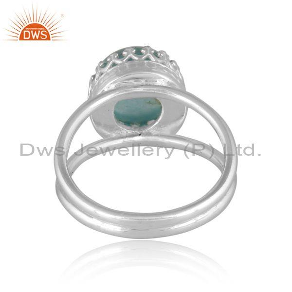 Doublet amazonite crystal set fine 925 silver crown ring