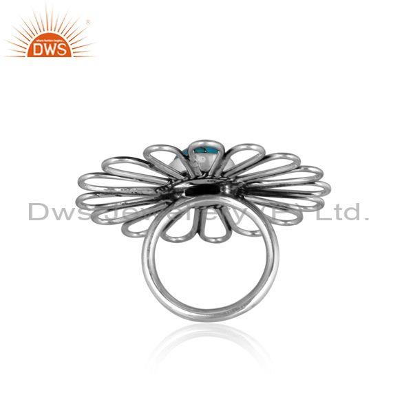Mojave copper turquoise set floral oxidized 925 silver ring