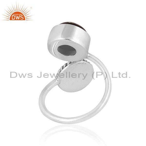 Doublet gray mop crystal set 925 oxidized silver open ring