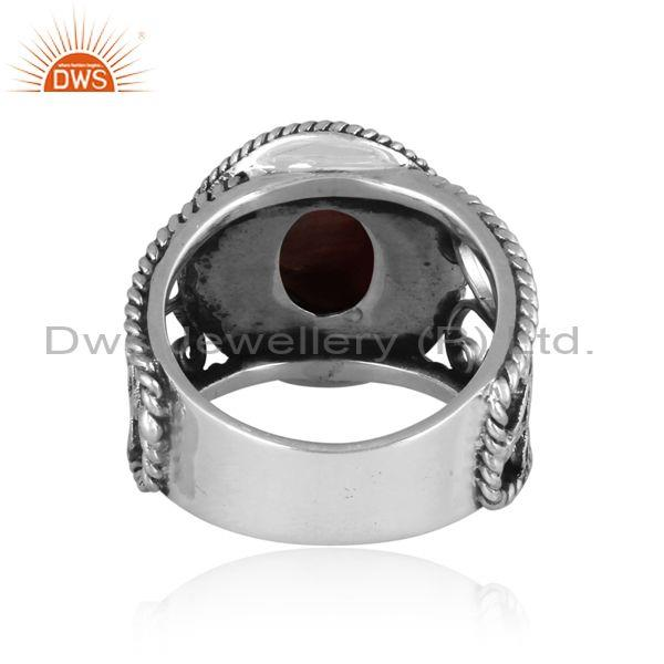 Doublet apache gold crystal oxidized silver ethnic band ring