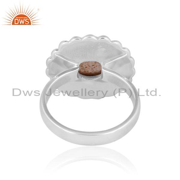 Doublet sunstone crystal oxidized silver ethnic band ring