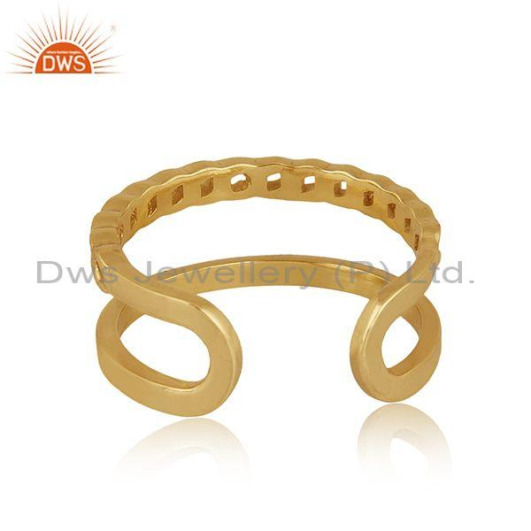 Handmade and handhammered brass gold double band fancy ring