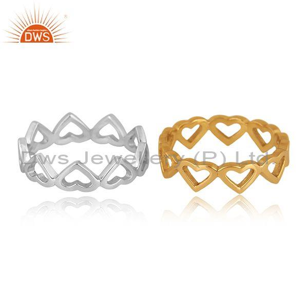 Gold on fine silver classic heart shaped double band ring