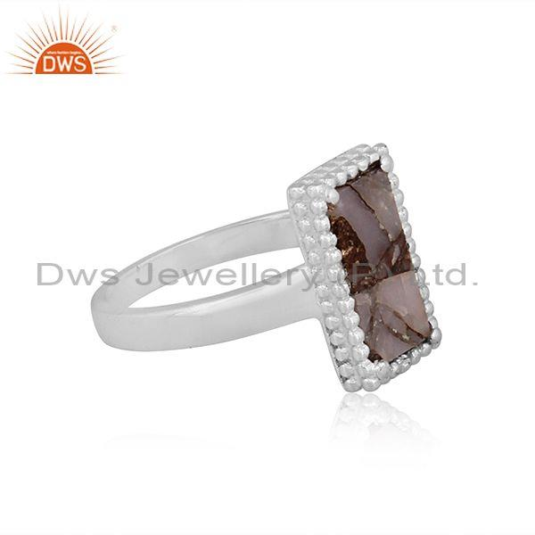 Mojave copper pink opal turquoise rectangle fine silver ring