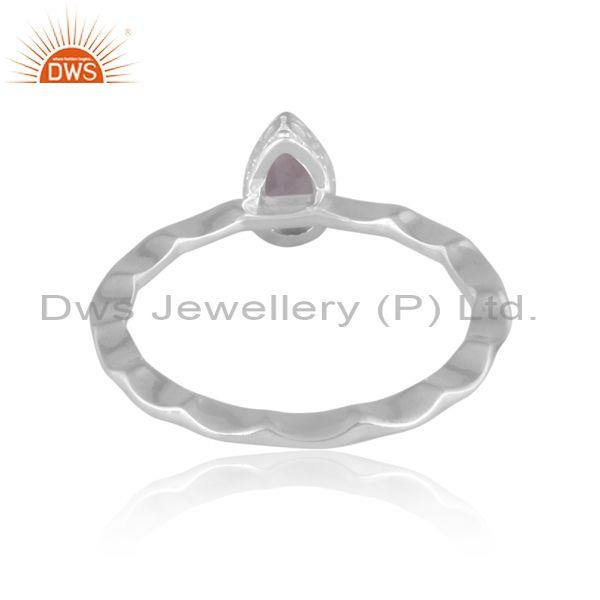 Pear cut pink amethyst set fine 925 silver handhammered ring