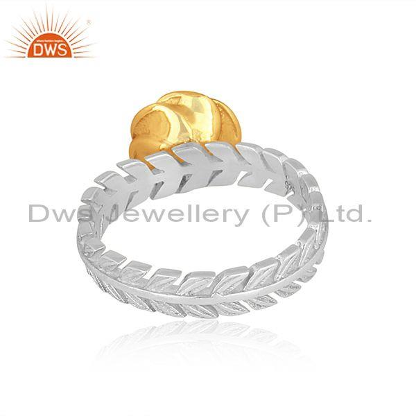 Rose charm set gold on fine sterling silver statement ring