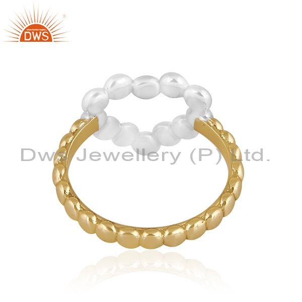 Gold and fine brass heart shaped designer statement ring