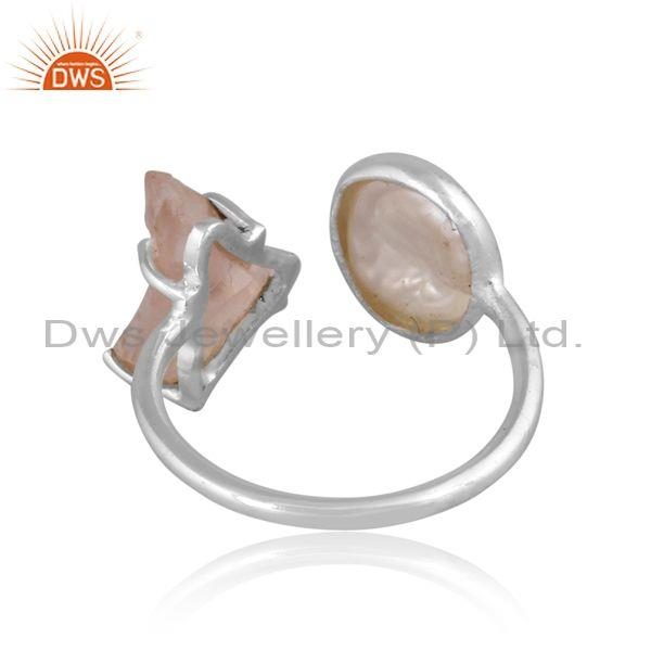 Pearl beads and rose quartz set fine 925 silver open ring