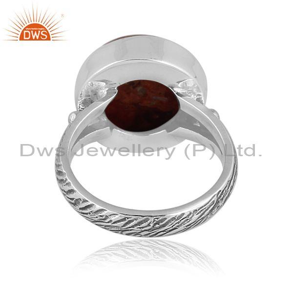 Round sponge coral set oxidized sterling silver band ring