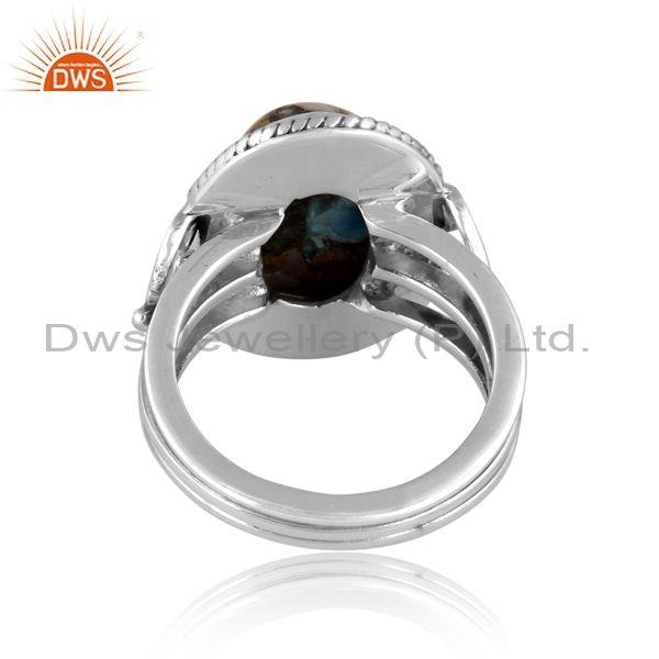 Oxidized silver oval mojave copper bumblebee turquoise ring