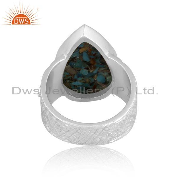 Pear cut boulder turquoise set fine 925 sterling silver ring
