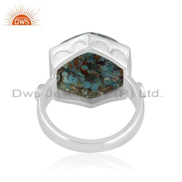 Hexagonal boulder turquoise set fine silver abstract ring