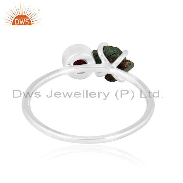 Ruby and emerald set fine 925 sterling silver designer ring