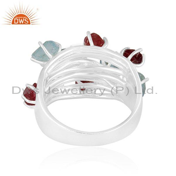 Rough cut apatite and spinel ruby set fine 925 silver ring