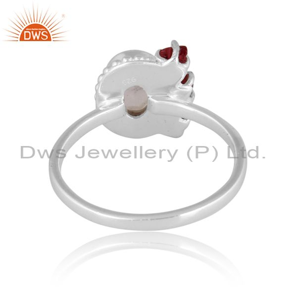 Rainbow moon stone and spinel ruby set fine 925 silver ring