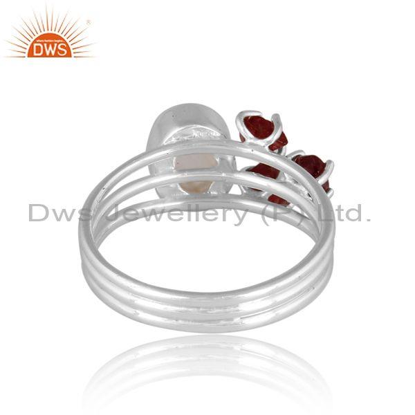 Fine 925 silver rainbow moon stone and spinel ruby set ring