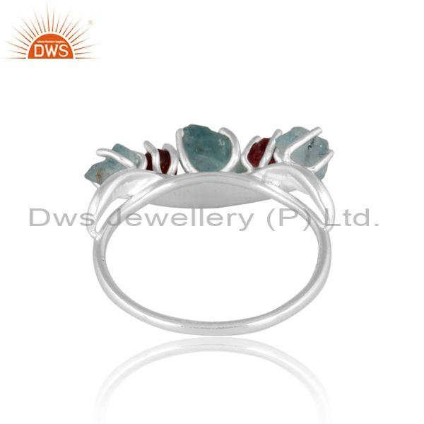 Apatite and spinel ruby set fine 925 silver statement ring
