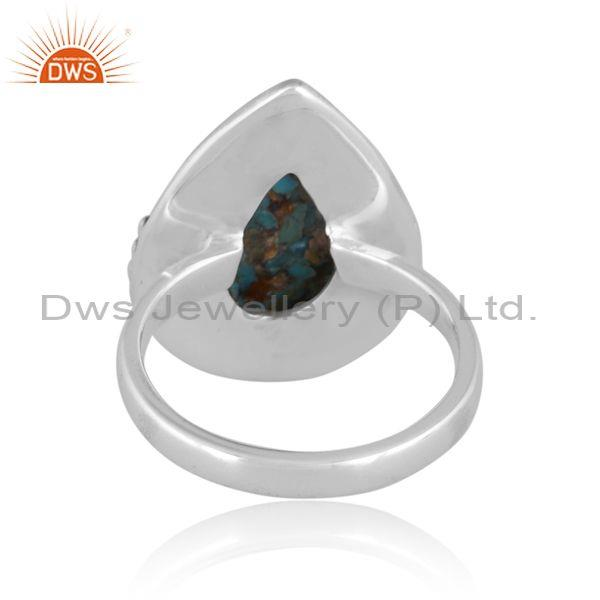 Pear cut boulder turquoise set oxidized sterling silver ring