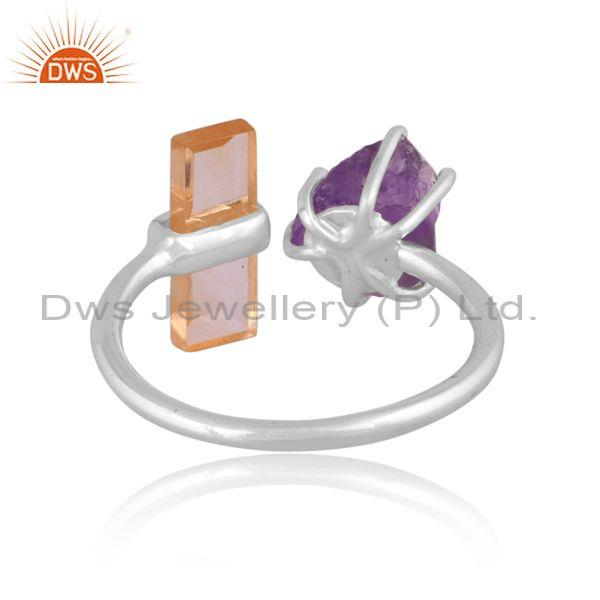 Citrine and amethyst set fine 925 sterling silver open ring