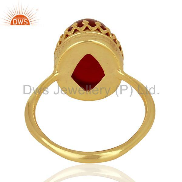 Wholesalers Crown Design Gold Plated Silver Ring Carnelian Gemstone Wedding Ring