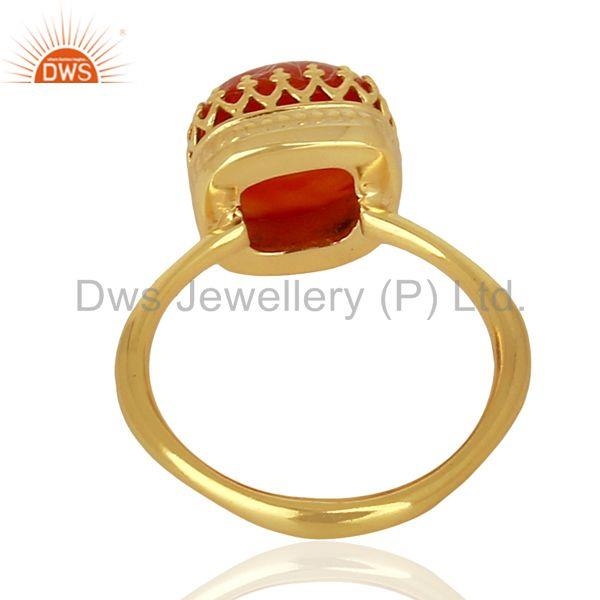 Wholesalers Indian Gold Plated 925 Silver Crown Design Gemstone Ring Jewelry