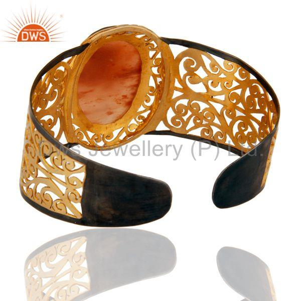 Wholesalers 18K Gold Plated Sterling Silver Handmade Art Natural Aventurine Cuff Bracelet