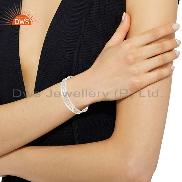 Xmas gifts solid 925 silver crafted wide bangle cubic zirconia Exporter