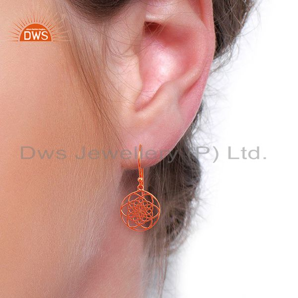 Wholesalers Flower of life Filigree 92.5 Sterling Silver Rose Gold Plated Dangle Earrings
