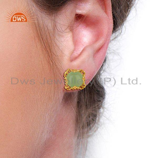 Wholesalers Best Selling Gold Plated 925 Silver Chalcedony Gemtone Stud Earrings
