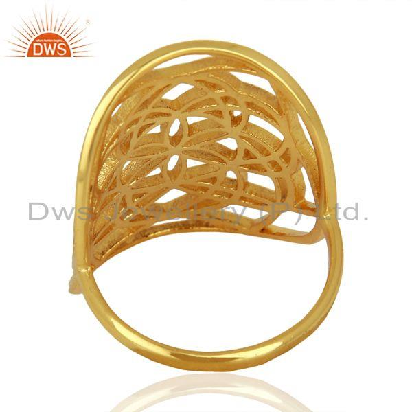 Wholesalers Flower Of Life Sterling Silver 14K Gold Plated Wholesale Ring