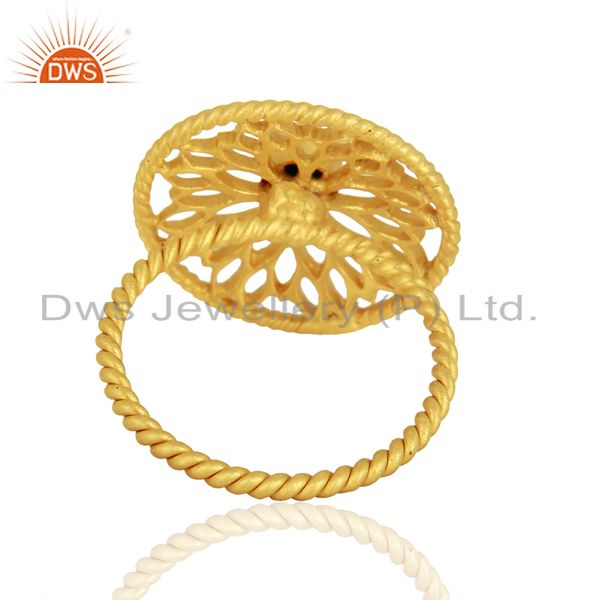 Wholesalers Natural Turquoise Gemstone Designer Gold Plated Silver Rings Wholesale